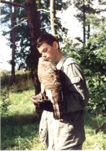 Pierwszy jastrząb - jeszcze w technikum leśnym w Warcinie 1998r.